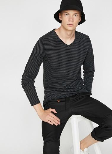 Koton Koton V Yaka Çizgili Siyah Sweatshirt Lacivert